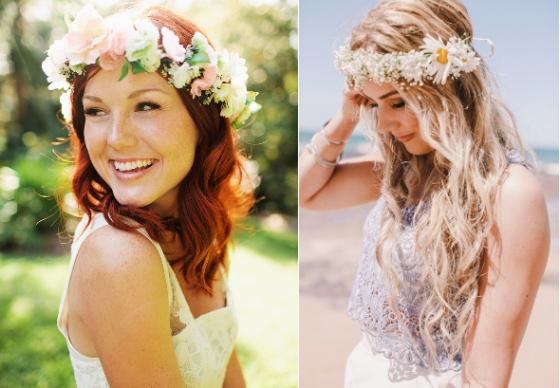 tiara de flores, simplesmente noiva, penteado