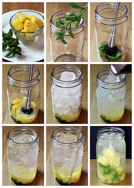 Água aromatizada com abacaxi e hortela- Na cozinha da Quelen