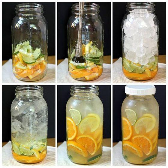 Água aromatizada com laranja e limao- Na cozinha da Quelen
